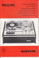AD037 - Original Bedienungsanleitung Manual Philips Tonbandgerät 4308, Neu - Alte Papiere