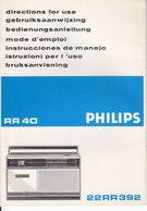 AD038 - Original Bedienungsanleitung Manual Philips Radio RR40/22RR392 - Alte Papiere