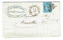 ALLIER 03 DOMPIERRE SUR BESBRE LAC Convoyeur Station CH M 05/08/1872 GC 2565 Sur N° 60 TTB - Marcophilie (Lettres)