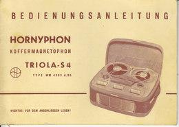 AD040 - Original Bedienungsanleitung Manual Hornyphon Koffermagnetophon Triola-S4 Type WM4303A/00 - Alte Papiere