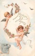 CPA Fantaisie Gaufrée - Ange - Anges - Joyeuses Pâques - Oeuf - Engel