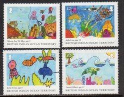 BIOT,BRITISH INDIAN OCEAN TERRITORY, 2018, MNH, CHILDREN'S DRAWINGS, TURTLES, FISH, MARINE LIFE,4v - Tartarughe