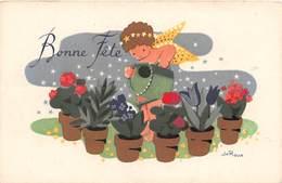 CPA Fantaisie - Ange - Anges - Bonne Fête - Illustrateur Jo Roux - Plantes - Engel