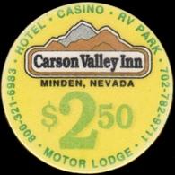 $2.50 Casino Chip. Carson Valley Inn, Minden, NV. I02. - Casino