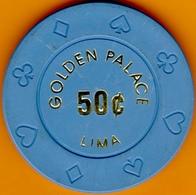 50¢ Casino Chip. Golden Palace, Lima, Peru. I02. - Casino