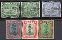 MALAYA, JAPANESE OCCUPATION 1942. 6 Values Ovptd On Selangor. Mint LH And Used - Groot-Brittannië (oude Kolonies En Protectoraten)