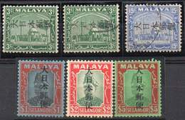 MALAYA, JAPANESE OCCUPATION 1942. 6 Values Ovptd On Selangor. Mint LH And Used - Occupation Japonaise