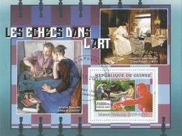 Guinea 2007Quadro Dipinto Scacchi Echecs Bresciani F.J. Waugh Duchamp Sheet Perf. CTO Chess - Scacchi