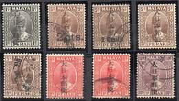 MALAYA, JAPANESE OCCUPATION 1942. 8 Values Ovptd On Perak. Mint LH And Used - Occupation Japonaise