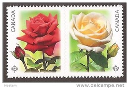 CANADA, 2014, #2731i,  THE ROSES PINK & Yellow  Die Cut From Quaterly Pack From Booklet, - Carnets
