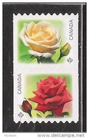 CANADA, 2014, #2729ii, FLOWERS   THE ROSE,  Pair Of Coils Die Cut From Quaterly Pack  Mnh - Roulettes