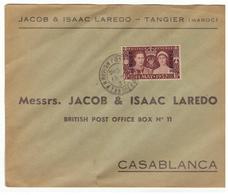 Lettre Maroc.¨Poste Anglaise à Tanger. 1937. Small Tear. Cachet Poste Anglaise Casablanca? Timbre. Petite Déchirure. - Morocco Agencies / Tangier (...-1958)