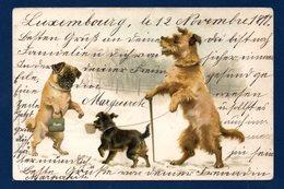Chiens Humanisés. Vieillard Mendiant Et Dame Charitable. 1899  ( Frères Johan Et Joseph Obpacher) - Dogs