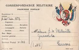 Rare Lettre Correspondance Militaire Franchise Postale Drapeaux Alliés Avec Tête De Marianne Laurée - 1914-18