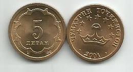 Tajikistan 5 Diram 2001. UNC KM#2 - Tadjikistan