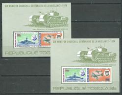Togo Bloc-feuillet YT N°84 Et 84a Sir Winston Churchill (Dentelé Et NON DENTELE) Neuf/charnière ** - Togo (1960-...)