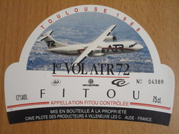 ETIQUETTE DE VIN FITOU 1ER VOL ATR 72 TOULOUSE 1988 - Languedoc-Roussillon