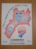 ETIQUETTE DE VIN CORBIERES CUVEE DE L'AMICALE DES SAPEURS POMPIERS DE PARIS - Languedoc-Roussillon