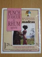 ETIQUETTE DE PUNCH D'AMOUR AU RHUM AGRICOLE BOIS BANDE MADRAS GUADELOUPE - Rhum