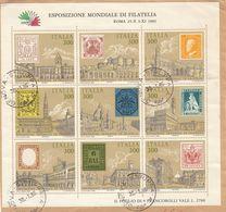 ITALIA - 1985 - Foglio Con 9 Valori: Yvert BF1 Obliterato Su Frammento Di Busta. - 6. 1946-.. Repubblica