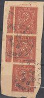 ITALIA - 1865 -  Tre Valori Yvert 13 Uniti Fra Loro, Obliterati, Su Frammento Di Busta. - 1861-78 Victor Emmanuel II.