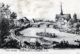 SENS (Yonne) - Le Pont D'yonne Et Le Coche Par Eau En 1822 - Sens