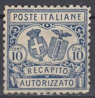 ITALIA - 1928 -  Yvert Espresso 17, Recapito Autorizzato Da 10 Centesimi, Nuovo MH. - Nuovi