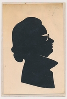 Silhouette Woman W Glasses Femme Avec Lunettes Original Vintage Hand Made 2 X Silouettes Siluette  Old Card - Silhouettes