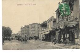 34 BEZIERS PLACE DE LA GARE HOTEL CARBONNAIS CAFE RESTAURANT DU CHEMIN DE FER 1914 CPA 2 SCANS - Beziers