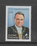 TIMBRE NEUF DE FINLANDE - 70E ANNIVERSAIRE DU PRESIDENT DE LA REPUBLIQUE MAUNO KOIVISTO N° Y&T 1201 - Beroemde Personen