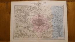 CARTE DOUBLE ATLAS MIGEON 1888 ENVIRONS DE PARIS AVEC LES FORTS  GRAVEE PAR RAYNAUD   FORMAT 35 X 48 CM - Geographical Maps