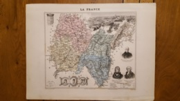 CARTE  ATLAS MIGEON 1888  L'AIN GRAVEE PAR LECOCQ ET BARBIER FORMAT 35 X 27 CM - Geographische Kaarten