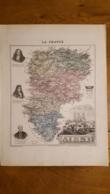 CARTE  ATLAS MIGEON 1888  L'AISNE  GRAVEE PAR LECOCQ ET BARBIER FORMAT 35 X 27 CM - Geographical Maps