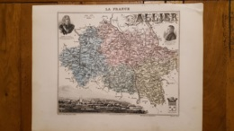 CARTE  ATLAS MIGEON 1888  L'ALLIER  GRAVEE PAR LECOCQ ET BARBIER FORMAT 35 X 27 CM - Geographical Maps