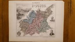 CARTE  ATLAS MIGEON 1888  BASSES ALPES  GRAVEE PAR LECOCQ ET BARBIER FORMAT 35 X 27 CM - Geographical Maps