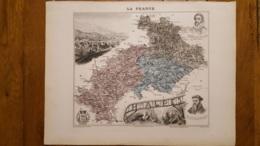 CARTE  ATLAS MIGEON 1888  HAUTES  ALPES  GRAVEE PAR LECOCQ ET BARBIER FORMAT 35 X 27 CM - Geographische Kaarten