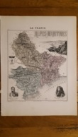 CARTE  ATLAS MIGEON 1888 ALPES MARITIMES  GRAVEE PAR LECOCQ ET BARBIER FORMAT 35 X 27 CM - Geographical Maps
