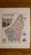 CARTE  ATLAS MIGEON 1888 ARDECHE  GRAVEE PAR LECOCQ ET BARBIER FORMAT 35 X 27 CM - Geographische Kaarten