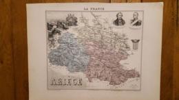 CARTE  ATLAS MIGEON 1888 ARIEGE  GRAVEE PAR LECOCQ ET BARBIER FORMAT 35 X 27 CM - Geographical Maps