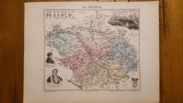 CARTE  ATLAS MIGEON 1888 AUBE  GRAVEE PAR LECOCQ ET BARBIER FORMAT 35 X 27 CM - Geographical Maps