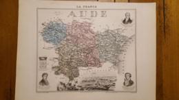 CARTE  ATLAS MIGEON 1888 AUDE  GRAVEE PAR LECOCQ ET BARBIER FORMAT 35 X 27 CM - Geographical Maps