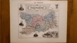 CARTE  ATLAS MIGEON 1888 CALVADOS  GRAVEE PAR LECOCQ ET BARBIER FORMAT 35 X 27 CM - Geographical Maps