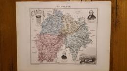 CARTE  ATLAS MIGEON 1888 CANTAL  GRAVEE PAR LECOCQ ET BARBIER FORMAT 35 X 27 CM - Geographical Maps