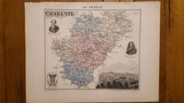 CARTE  ATLAS MIGEON 1888 CHARENTE  GRAVEE PAR LECOCQ ET BARBIER FORMAT 35 X 27 CM - Geographische Kaarten