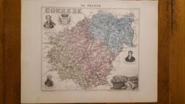 CARTE  ATLAS MIGEON 1888 CORREZE GRAVEE PAR LECOCQ ET BARBIER FORMAT 35 X 27 CM - Geographische Kaarten