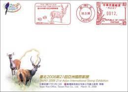 FDC 2008 Taiwan Sambar Deer Meter Stamp Map (5-4 Of TAIPEI 2008) Fauna - Other