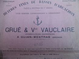 FACTURE ILLUSTREE GUJAN MESTRAS HUITRES FINES DU BASSIN D ARCACHON GRUE & VAUCLAIRE - France