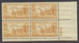 Plate Block -1950 USA California Statehood 100th Ann. Stamp Sc#997 Gold Miner Pioneer Ox Cow Mineral - Minerals