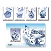 2018 Ancient Art Treasures Stamps - Blue & White Porcelain Stamps & S/s Fish Flower Bird Fruit Dragon - Porcelain