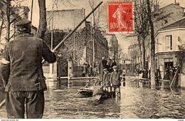 ASNIÈRES  Rue De Bretagne . Inondations De Janvier 1910. Belle Carte. Très Bon état - Asnieres Sur Seine